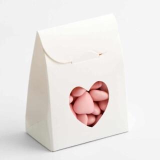 Witte Doosjes met Hart Design Venster – 6 x 3.5 x 8 cm – 10 Stuks