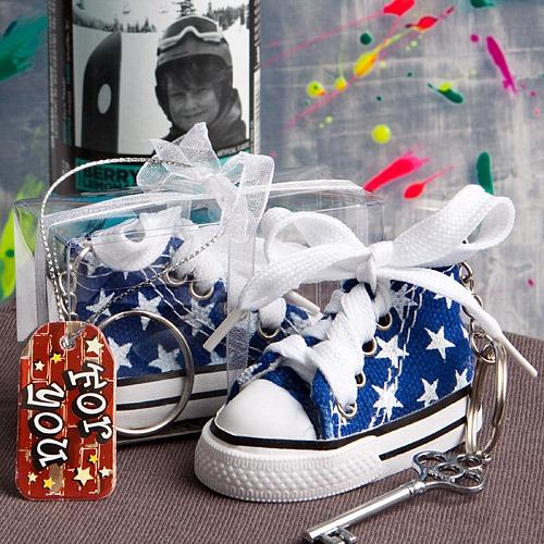 Blauwe Sterrenprint Mini-Sneaker Sleutelhanger