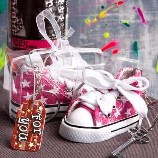 Roze Sterrenprint Mini-Sneaker Sleutelhanger