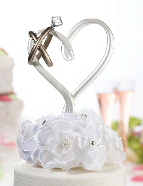 taarttopper hart met ringen alles voor je huwelijk. Black Bedroom Furniture Sets. Home Design Ideas
