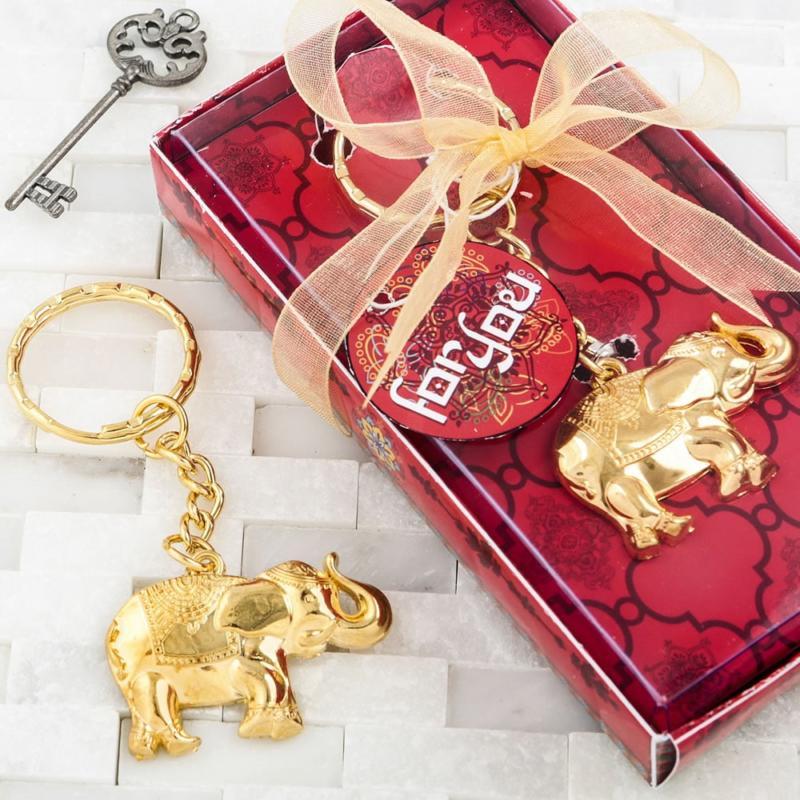 Goedkope Bedankjes Verjaardag.Good Luck Gold Elephant Sleutelhanger