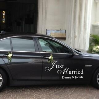 Autodecoratie Just Married met namen