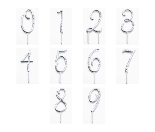 Zilveren Monogram Nummers Cake Topper