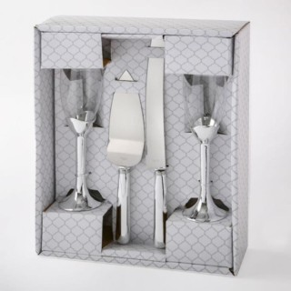 Champagneglazen & Taartschep en mes Silver Elegance
