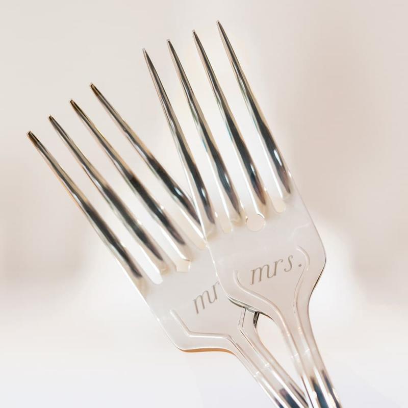 Zilveren Taartvorken Mr & Mrs