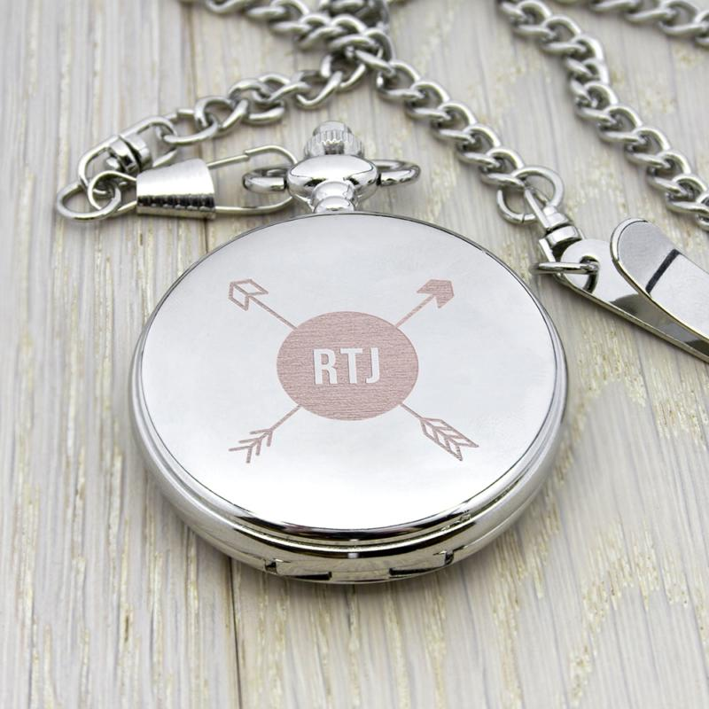 personalised groomsman monogramed pocket watch per2349