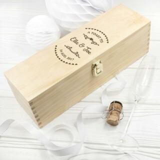 Gepersonaliseerde Wijnkist Vintage Hart