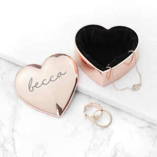 Hartvormige Sieradendoos Rosé Goud