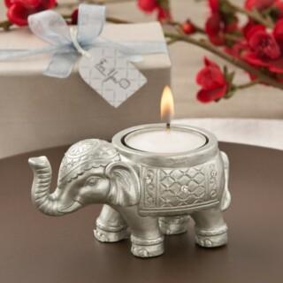 Good luck silver Indian Elephant Theelichthouder