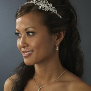 Sierlijke parel en strass bruids sieraden set