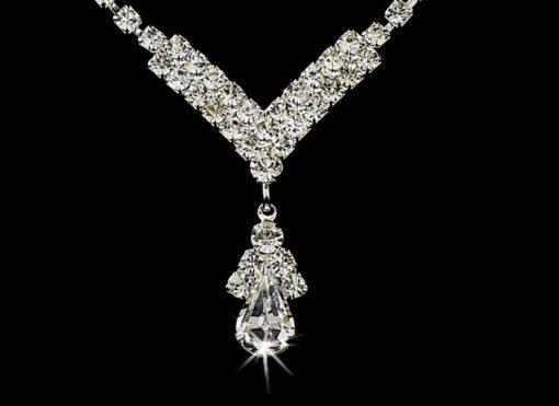 Silver Clear Crystal Drop Sieraden set