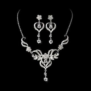 Zilver Kristallen Bruids Sieraden Set