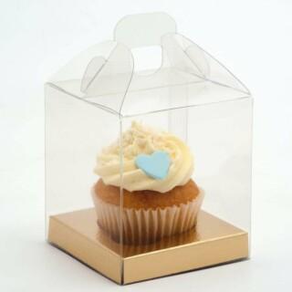 Stijlvolle Cupcake Doosjes met Handvat - 90 x 90 x 100 mm - 10 Stuks
