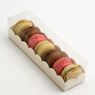 Luxe Macaron Doosjes met Witte Geschulpte Inzet - 190 x 50 x 50 mm - 10 Stuks