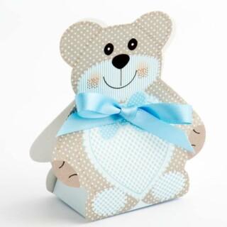 Blauwe Teddybeer Cadeaudoosjes Medium 60 x 40 x 120 mm - 10 stuks