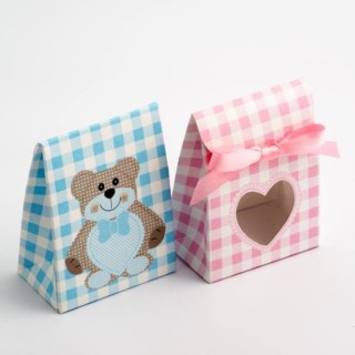 Blauwe Teddybeer - Sachet Doosjes met Hartvormig Venster 60 x 35 x 80 mm - 10 stuks