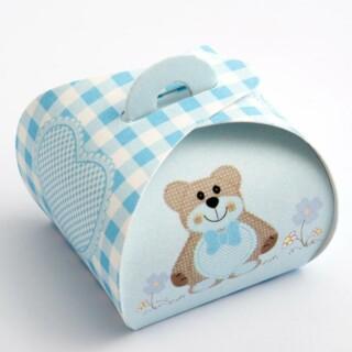 Mini Cupcake Doosjes - Blauwe Teddybeer - 40 x 40 x 35 mm - 10 stuks