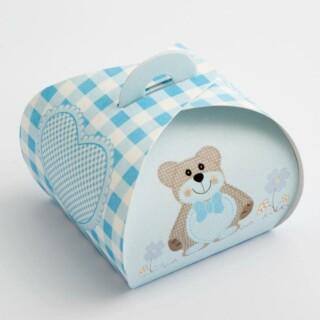 Cupcake Doosjes - Blauwe Teddybeer - 55 x 55 x 50 mm - 10 stuks