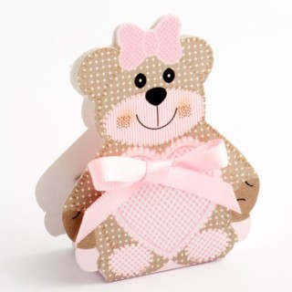 Pink Teddy Bear - Bear Box 35x25x60mm - 10 Pack