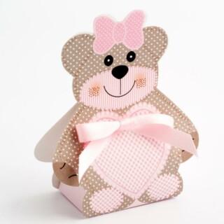 Pink Teddy Bear - Bear Box 60x40x120mm - 10 Pack