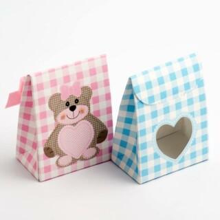 Roze Teddybeer - Sachet Doosjes met Hartvormig Venster 60 x 35 x 80 mm - 10 stuks
