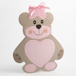 Roze Teddybeer - Zaalversiering 305 x 270 mm - 10 stuks