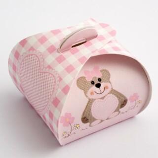Mini Cupcake Doosjes - Roze Teddybeer - 40 x 40 x 35 mm - 10 stuks