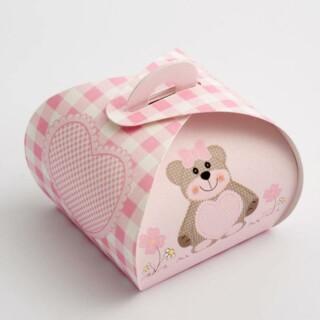 Cupcake Doosjes - Roze Teddybeer - 55 x 55 x 50 mm - 10 stuks