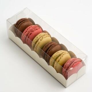 Luxe Macaron Doosjes met Witte Geschulpte Inzet - 160 x 50 x 50 mm - 10 Stuks