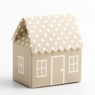 Grijze Doosjes - Polka Dot Huis 60 x 40 x 70 mm - 10 stuks
