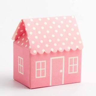 Roze Doosjes - Polka Dot Huis 60 x 40 x 70 mm - 10 stuks