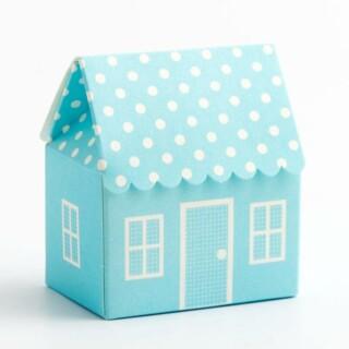 Blauwe Doosjes - Polka Dot Huis 60 x 40 x 70 mm - 10 stuks