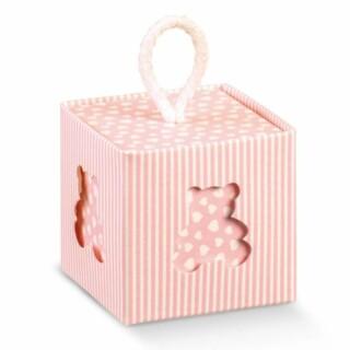 Krijtstreep Kubus Doosje Roze met Koord & Teddybeer Venster