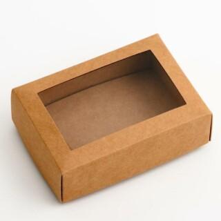 Rustiek Kraft - Rechthoekige doos & raamdeksel - 10 Stuks