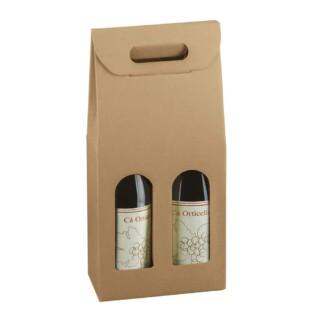 Rustic Kraft - 2 Flessen Wijn Box met Venster - 10 stuks