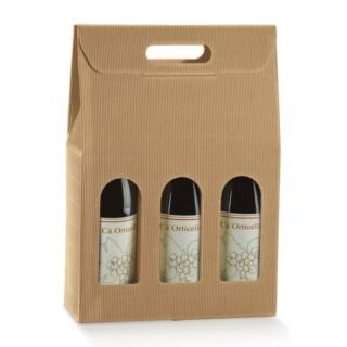 Kraft - 3 Flessen Wijndoos met venster - 10 Stuks