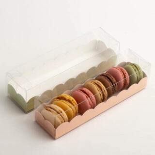 Luxe Macaron Doosjes met Roze Inzet - 16 x 5 x 5 cm - 10 Stuks