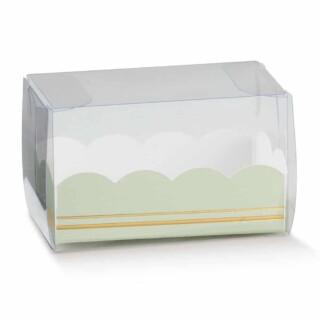 Luxe Macaron Doosjes met Groene Inzet - 8 x 5 x 5 cm - 10 Stuks