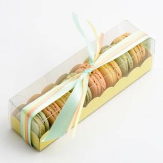 Luxe Macaron Doosjes met Gele Geschulpte Inzet - 190 x 50 x 50 mm - 10 Stuks