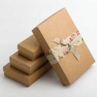 Rustiek Kraft - Rechthoekige doos & deksel - 10 Stuks