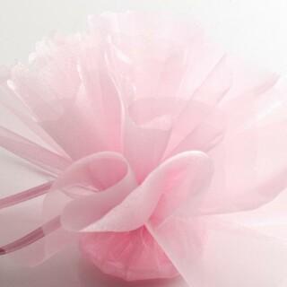 Roze Organza Tule geschulpte rand - 50 Stuks