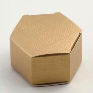 Zeshoekige Doosjes - Goud Zijdeglans - 6 x 3 cm - 10 Stuks
