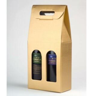 Wijndozen Goud Zijdeglans met Venster - 2 Flessen - 10 Stuks