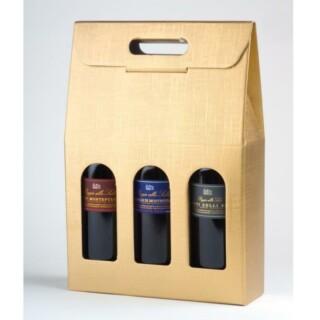 Wijndozen Goud Zijdeglans met Venster - 3 Flessen - 10 Stuks