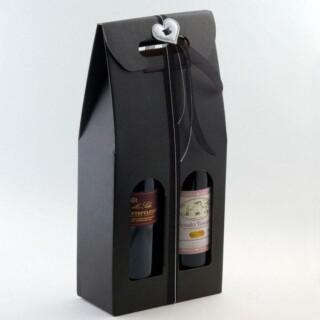 Wijndozen Zwart Zijdeglans met Venster - 2 Flessen - 10 Stuks