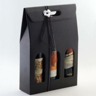 Wijndozen Zwart Zijdeglans met Venster - 3 Flessen - 10 Stuks