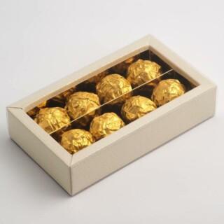 Truffel dozen Antiekwit - 14.5 x 7.5 x 3.5 cm - 10 Stuks