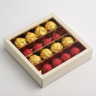 Chocolade dozen Antiekwit - 14.5 x 14.5 x 3.5 cm - 10 Stuks