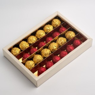 Chocolade dozen Antiekwit - 21.5 x 14.5 x 3.5 cm - 10 Stuks