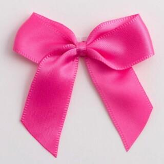 Satijnen Strikjes Hot Pink (Zelfklevend) 5 cm - 12 stuks